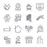 Real estate thin icons. Handshake, contract, bilding, bathroom, house and other. Icon set with  stroke Stock Image