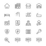 Real estate thin icons Royalty Free Stock Images