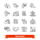 Real estate thin line art icons set Royalty Free Stock Images