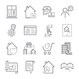 Real estate thin line art icons set. Residential and commercial building deals. Linear style symbols isolated on white. Icon set w. Ith  stroke. EPS 10 Royalty Free Stock Photo