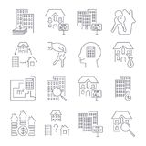 Real estate thin line art icons set. Residential and commercial building deals. Linear style symbols isolated on white. Icon set w. Ith  stroke. EPS 10 Stock Photo