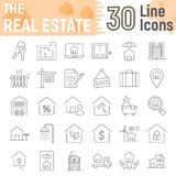 Real Estate thin line icon set, home signs. Real Estate thin line icon set, home symbols collection, vector sketches, logo illustrations, building signs linear Stock Photos
