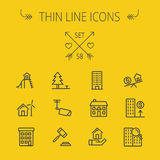 Real Estate thin line icon set. For web and mobile. Set includes- pine tree, antenna, gavel, playhouse, windmill, buildings icons. Modern minimalistic flat Royalty Free Stock Image
