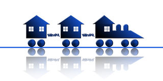 Real estate train. Train made of houses. A concept for real estate and construction businesses Royalty Free Stock Image