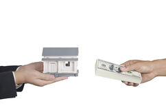 Real estate transaction concept. A concept of real estate transaction of selling and buying house Stock Photos