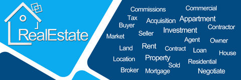Real Estate Two Blue Squares Stock Image