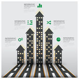 Real Estate- und Eigentums-Geschäft Infographic mit dem Errichten von Arro Stockbilder