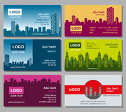 Real estate vector business card set. Card for business with building architecture and identity card with business house illustration Royalty Free Stock Images