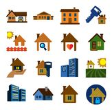 Real estate. Vector color real estate icons set on white Royalty Free Stock Images