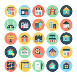 Real Estate Vector Icons 1. This trendy set of real estate  icons are just perfect for real estate agencies and home insurance agencies, adverts and promotional Stock Image