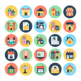 Real Estate Vector Icons 3. This trendy set of real estate  icons are just perfect for real estate agencies and home insurance agencies, adverts and promotional Royalty Free Stock Photos