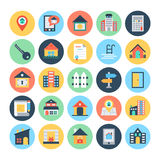 Real Estate Vector Icons 2. This trendy set of real estate  icons are just perfect for real estate agencies and home insurance agencies, adverts and promotional Royalty Free Stock Images
