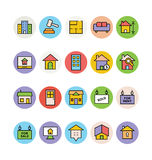 Real Estate Vector Icons 1. This trendy set of real estate  icons are just perfect for real estate agencies and home insurance agencies, adverts and promotional Stock Photos