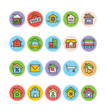 Real Estate Vector Icons 5. This trendy set of real estate  icons are just perfect for real estate agencies and home insurance agencies, adverts and promotional Stock Photography