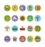 Real Estate Vector Icons 4. This trendy set of real estate  icons are just perfect for real estate agencies and home insurance agencies, adverts and promotional Stock Image