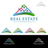 Real estate Vector Logo Design, Abstract Building and Home with line shape represented unique,  strong and modern Real estate Logo. Real estate vector Logo Stock Image