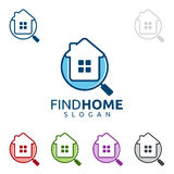 Real estate vector logo design with home and searching. Real estate logo, house logo, find home logo Stock Image