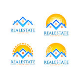 Real estate vector logo design with home and sun shape. Real estate vector logo design Royalty Free Stock Photography