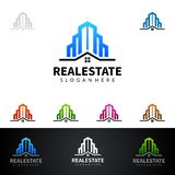 Real Estate vector logo design with House and ecology shape, isolated on white background. Real estate vector Logo design Stock Photography
