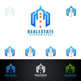 Real Estate vector logo design with House and ecology shape, isolated on white background. Real estate vector Logo design Royalty Free Stock Image