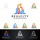 Real Estate vector logo design with House and ecology shape, isolated on white background. Real estate vector Logo design Royalty Free Stock Images