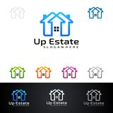 Real Estate vector logo design with House and ecology shape, isolated on white background. Real estate vector Logo design Stock Photos