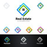 Real Estate vector logo design with House and ecology shape,  on white background. Real Estate vector logo design Stock Photo