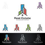 Real Estate vector logo design with House and ecology shape,  on white background. Real Estate vector logo design Stock Photos