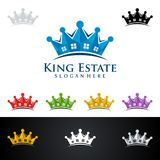 King Estate, Real Estate vector logo design with House and ecology shape, isolated on white background. Real estate vector Logo design Stock Images