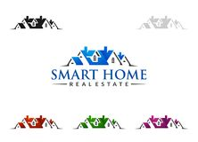 Real estate Vector Logo Design, Abstract Building and Home with line shape represented unique,  strong and modern Real estate Logo. Real estate vector Logo Royalty Free Stock Photography