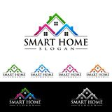 Real estate Vector Logo Design, Abstract Building and Home with line shape represented unique,  strong and modern Real estate Logo. Real estate vector Logo Royalty Free Stock Images