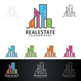 Real Estate vector logo design with House and ecology shape, isolated on white background. Real estate vector Logo design Royalty Free Stock Photos