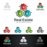 Real Estate vector logo design with House and ecology shape,  on white background. Real Estate vector logo design Royalty Free Stock Images