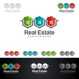 Real Estate vector logo design with House and ecology shape,  on white background. Real Estate vector logo design Royalty Free Stock Photo