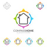 Compass Home, Real estate vector logo Design with Unique Home. Real estate vector logo Design template Royalty Free Stock Photos