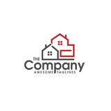 Real estate vector logo. Home with window simple house symbol, realty building logo Stock Photo
