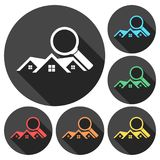 Real Estate vector logo, House search abstract concept icons set with long shadow. Vector icon Vector Illustration