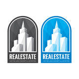 Real estate vector logo template concept illustration in grayscale and blue colors. Abstract buildings sign. Cityscape skyscrapers Royalty Free Stock Image