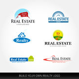 Real estate vector logotypes set. Real Estate logo design template. Realty logos. Illustrations with houses and with elements of the house Royalty Free Stock Image