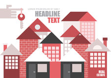 Real Estate vector template. Real estate, modern townhouses. Vector template, magazine cover design, size A4. Hand with key on forefinger Stock Photography