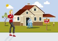 Real Estate-Verkäuferin Showing ein neues Bau-Haus Stockbilder