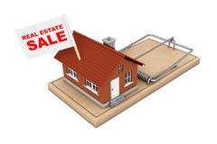 Real Estate-Verkaufs-Konzept Wohnungsbau mit Real Estate-Verkauf F Stockbilder