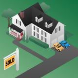 Real Estate Verkocht Teken met Vectorillustratie van de Huis de Isometrische 3d Stijl Stock Afbeelding