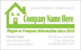 Real Estate-Visitenkarte-Schablone mit Haus-Logo Lizenzfreie Stockfotos