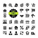 Real Estate, własność, pośrednik handlu nieruchomościami ikony set Zdjęcie Royalty Free