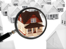 Real estate watch. House with a magnifying glass. Watching the market of real estate, finding a home, or security concept Royalty Free Stock Photos