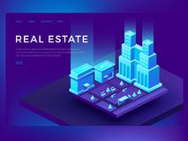 Real estate web site design with 3d isometric buildings. Smart city technology vector business innovation concept. Urban cityscape innovation illustration Royalty Free Stock Photos