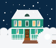 Real estate winter night scene. House, cottage, townhouse, sweet home vector illustration. Cozy house, townhouse vector illustration. Vector cottage with lights Stock Image