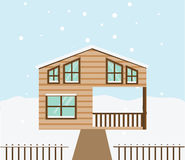 Real estate winter scene. House, cottage, townhouse, sweet home vector illustration  Royalty Free Stock Photography