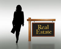 Real estate woman business card logo royalty free stock photo